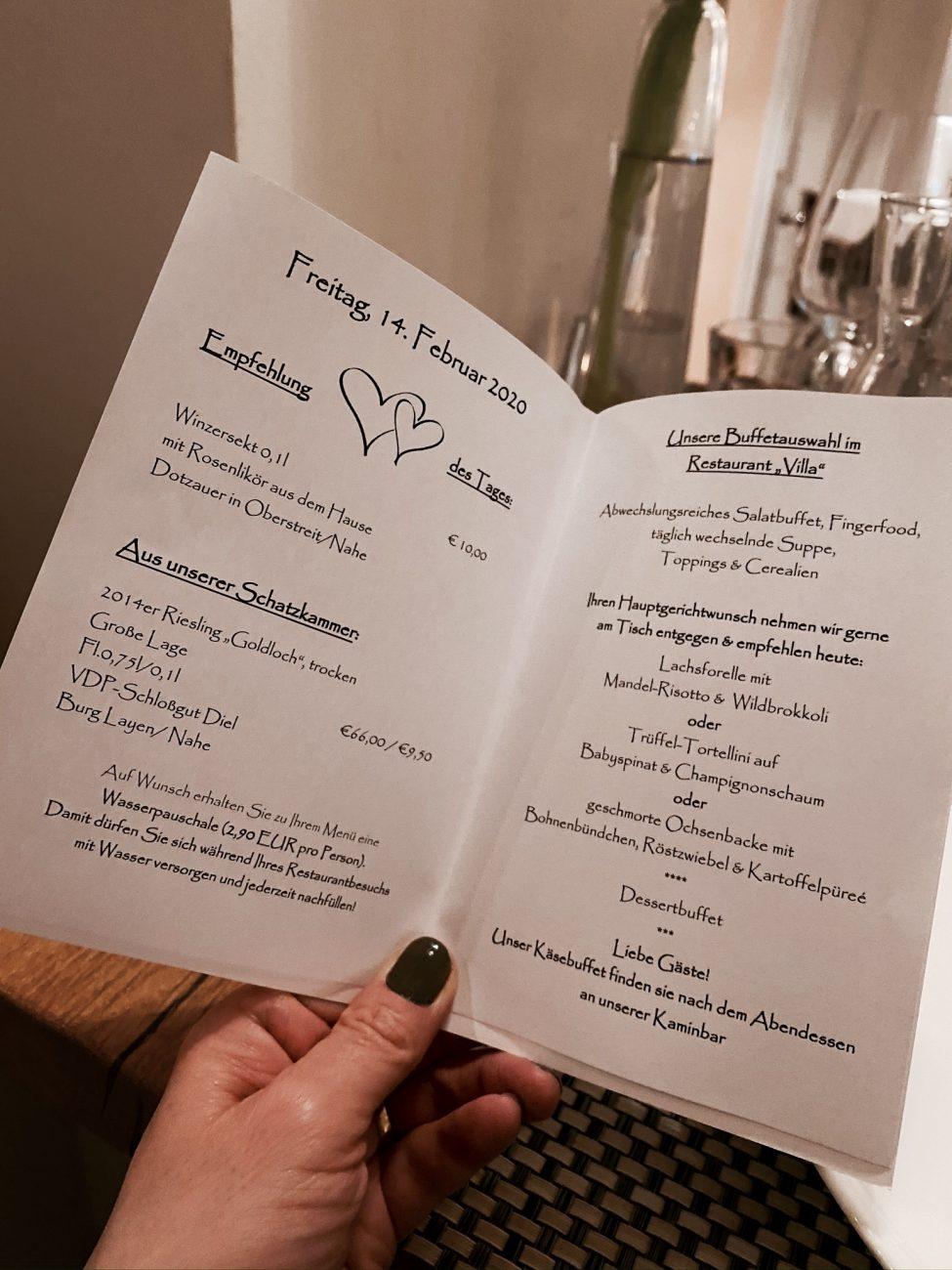 Menü im Hotel Bollants, Hermannshof, Villa